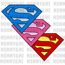 2x Iron On T-Shirt Hoodie Transfer Superman Superwoman Girls Boys Logo A5