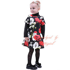 Fashion Girls Rose Flower Dress Baby Kids Birthday Weddings Party Formal Pageant