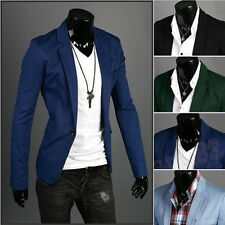 Stylish Men's Casual Slim Fit One Button Suit Blazer Polyester Coat Jacket Tops