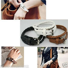Leather Weaved Buckle Double Wrap Bracelet PU Leather Adjustable Buckle 3 Colour