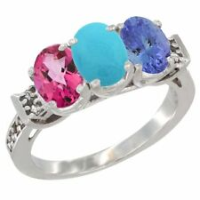 10k White Gold Natural Pink Topaz, Turquoise & Tanzanite 3-Stone Ring, Oval Cut