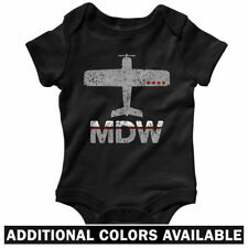 Fly MDW Midway Airport One Piece - Chicago Jet Baby Infant Creeper Romper NB-24M