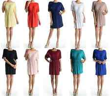 Women Round Neck Short Sleeve Flare Pleated Long Tunic Top Shirt Mini Dress