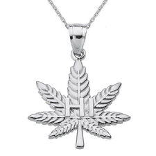 "Sterling Silver Marijuana Pot Weed Cannabis Leaf ""HI"" Script Pendant Necklace"