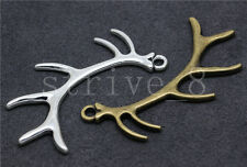 Lot 2/8/40pcs Antique Silver Beautiful 3D Antlers Jewelry Charms Pendant 66x27mm