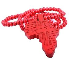 Hip Hop Wooden African Map Piece Africa Pendant Wood Rosary Bead Chain Necklace