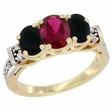 10k Yellow Gold Enhanced Ruby & Natural Black Onyx 3-Stone Diamond Ring
