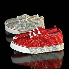 Marc Defang Toddler Girls Comfort Lace Up Crystal Sneakers