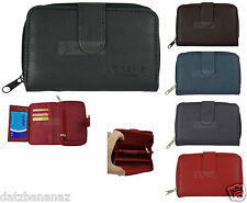 Ladies Purse / Wallet With Real Leather Grain Look BLACK BLUE BROWN RED PLUM