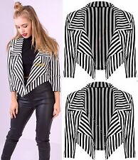 Womens Ladies Waterfall Stripe 3/4 Sleeve Party Cropped Blazer Jacket Coat 8-14