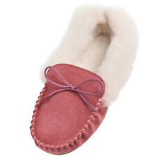 Lambland Ladies Genuine Sheepskin Suede Moccasin Slippers with PVC Sole