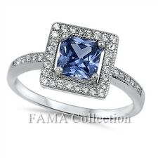 FAMA 925 Sterling Silver Engagement / Dress Ring Tanzanite 1.50CT w/ CZ Size 5-8