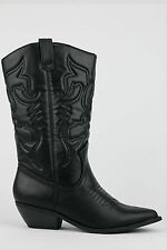 Womens Black Western Cowgirl Boot Faux Leather Rodeo Pointy Toe Soda Reno-S