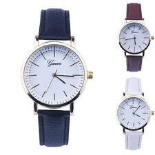 Women Leather Analog Quartz Wrist Watches  with Metal Case and Faux Leather Band