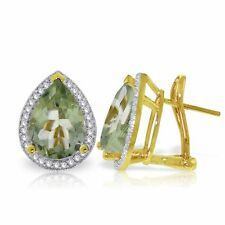 Genuine Green Amethysts Pear Gemstones & Diamonds French Clip Earrings 14K. Gold