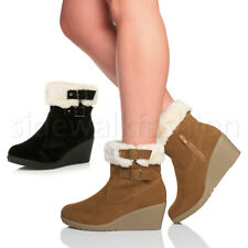 WOMENS LADIES MID WEDGE HEEL FUR LINED BUCKLE COLLAR ZIP ANKLE BOOTS SIZE