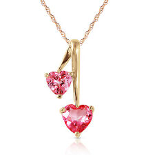 Genuine Pink Topaz Double Heart Gems Pendant Necklace 14K Yellow White Rose Gold