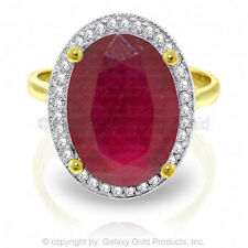 Genuine Ruby Oval Cut Gemstone & Diamonds Ring in 14K Yellow, White or Rose Gold