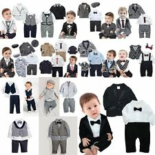 Baby Boy Wedding Christening Formal Suit Outfit+Jacket/Waistcoat Cloth Set 0M-5T