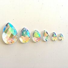 Sew Glue On Faceted Crystal AB Clear Teardrop Rhinestone Beads Flat Back Buttons