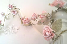 Vintage Shabby Chic ROSE GARLAND LIGHT PINK FLOWER 1.5m Wedding Decoration NEW