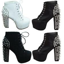 Sexy Womens High Platform block Heel Spike Rivet Stud Lace Up Ankle Boots Shoes