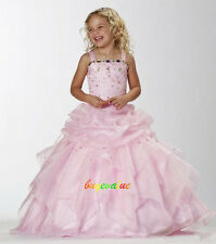 Age 2-14 Pink princess Girls Party Bridesmaid Wedding Flower girl Dress White-G