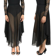 Sexy Mesh Skirt A Line High Waisted Flared long Maxi Skirt