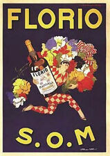 Florio S.O.M. by Marcello Dudovich Vintage-Style Wine Advertisement Poster Print
