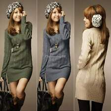 TOP CASUAL WOMENS PULLOVER V NECK MINI DRESS LONG SLEEVE SWEATER JUMPER