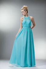 Classy Halter Rouched Long Prom Floor Length Dress Gown Evening Bridesmaids