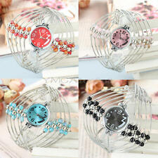 Women Lady Stainless Steel Band Beads Bracelet Bangle Quartz Wrist Watch Gift