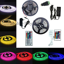 5m 3528 5050 SMD 300LEDs RGB White LED Strip Lights Flexible 12V Power Adapter