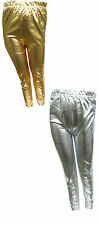Girls Foil Leggings Gold or Silver Party Wet Look Shiny Ages 7Y-13Y