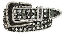 Womens Cowgirl Crystal Bling Alligator Lizard Rhinestone Leather Belt