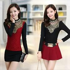 Women Fall Winter Warm Blouse PLUS SIZE Tops Long Sleeve Lace Slim Shirt Clothes