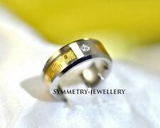 FAM.l Rare Mens Womens Tungsten Carbide & 18K Gold Inlay