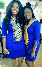 Odeneho Wear Ladies Blue Polished Cotton Dress/ Embroidery.African Clothing.