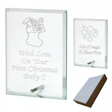 Engraved Glass Plaque Babys Babies 1st Christmas Personalised Gift