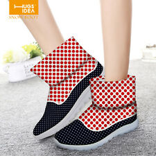 Cool Casual Dot Women Ladys Flat Slip On Winter Boots Snow Ankle Boots Shoes
