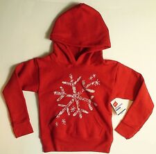 Hanes Girls Hooded Sweatshirt Let It Snow Glitter Snowflake Pullover Hoodie XS-M