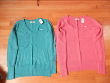 NWT Hollister easy Fit V Neck Sweater Pink or Turquoise Medium