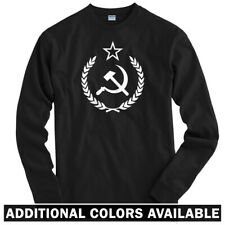 USSR Crest Long Sleeve T-shirt LS - Sickle Scythe Star CCCP Russia - Men / Youth
