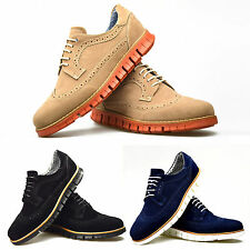 New Mens Shoes Beige Black Blue Suede Brogue Trainers Smart Casual 6 7 8 9 10 11