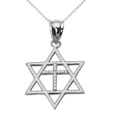 Solid White Gold Jewish Israel Star of David with Diamond Cross Pendant Necklace