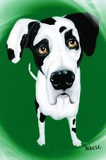 Harlequin Great Dane Art Print Dog Portrait Ready To Frame Weeze Mace