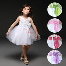 Kids Baby Girls Toddler Lace Bow Flower Dress Princess Weddings Party Bridesmaid