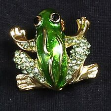 Lovely Brooches Pins Rhinestone Crystal Enamel Animal Frog Party Gift  Jewellery