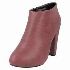 Ladies anne michelle burgundy ankle  boots f50006