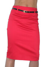 NEW (2347) smart sateen skirt with FREE belt red size 8-18